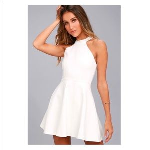 NWT- LULUS HOMETOWN WHITE LACE SKATER DRESS